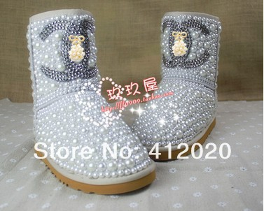 Drop shipping designer luxury Diamond pearl women 5825snow boots, hand make Fashion Women Brand Winter Genuine Leather Fur Boots-inBoots from Shoes on Aliexpress.com