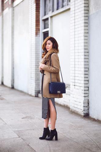 striped dress blogger bag camel coat tsangtastic slit dress