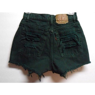 shorts dark green high waisted shorts frayed shorts forest green levi's