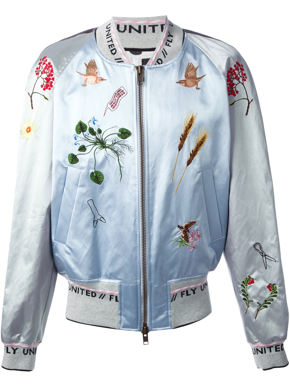 Men bernhard willhelm embroidered bomber jacket