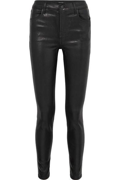 J Brand - Maria coated high-rise skinny jeans