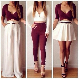 pants white pants maroon crop top tumbr twitter tumblr outfit shirt skirt