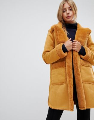 QED London reversible faux shearling coat at asos.com
