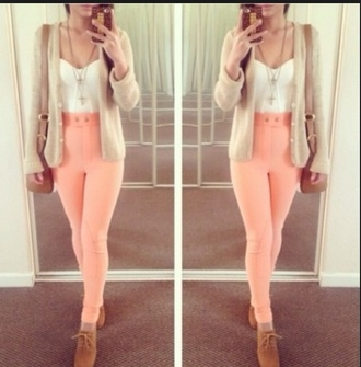 pink pants high waisted pants