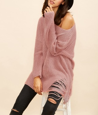 sweater girl girly girly wishlist fall outfits fall sweater cute ripped pink knit oversized sweater off the shoulder off the shoulder sweater off the shoulder top knitted sweater