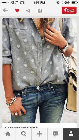 blouse polka dot chambray polka dots style dotted vintage baby blue