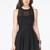 Black Contrast Mesh Yoke Backless Pleated Dress - Sheinside.com