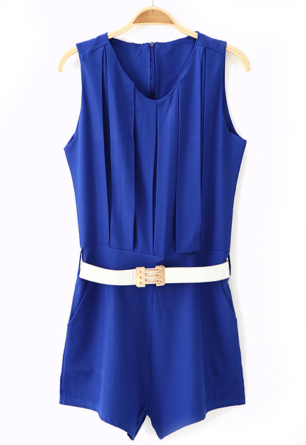 Blue Sleeveless Pleated Belt Chiffon Jumpsuits - Sheinside.com