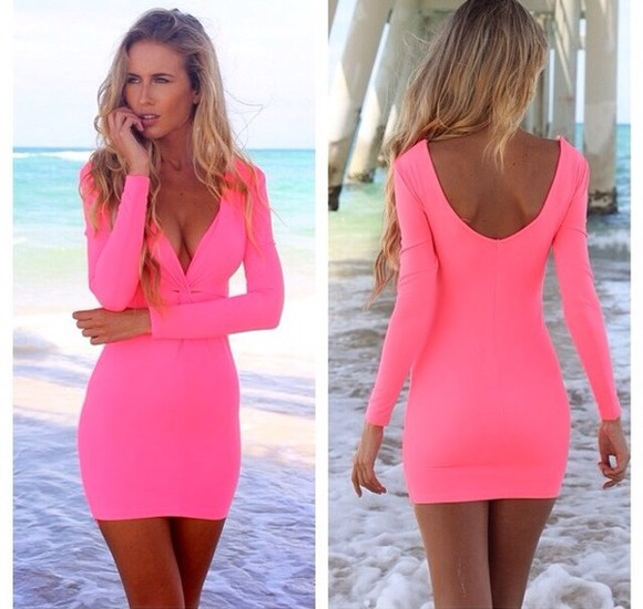 dress pink dress tightfitted