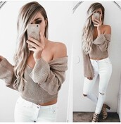 top,long sleeves,off the shoulder,long sleeve crop top,outfit,outfit idea,summer outfits,cute outfits,spring outfits,date outfit,party outfits,summer top,cute top,crop tops,jeans,ripped jeans,skinny jeans,high waisted jeans,white ripped jeans,white jeans,pants,skinny pants,white pants,high waisted pants,clubwear,style,stylish,heels,lace up heels,shoes,sexy shoes,party shoes,summer shoes,cute shoes,free vibrationz