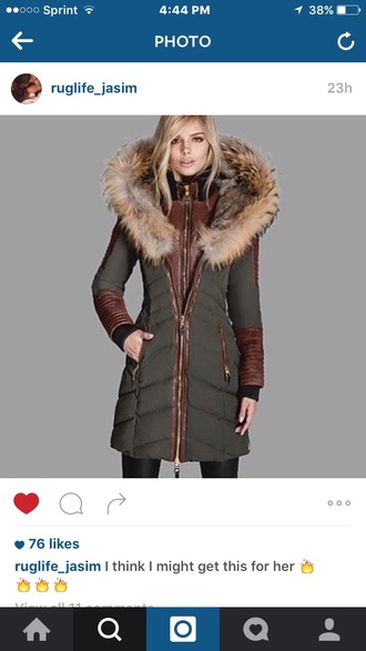 coat fur hood olive green brown leather trim