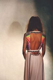 dress,fashion,native american,aztec,maxi,maxi dress,summer dress,open back dresses,celebrity style,long dress,sexy,summer,style,colorful dress,tribal pattern,white,colorful,black,color/pattern,rainbow,v neck back,multicolor,white dress,clothes,brands,multi colored dress,open back,cutout back,cut-out,orange,triangle,boho dress,boho chic,boho hippie dress fashion,jewels,jourdan dunn,mulit-color,catwalk,beautiful,geometric,free people