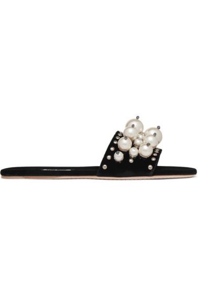 Miu Miu embellished black velvet shoes