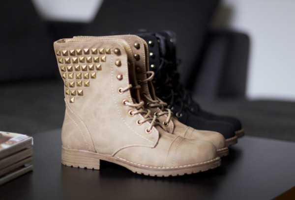 shoes boots brown lace studs cute