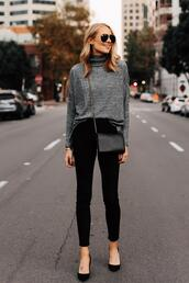 fashionjackson,blogger,top,jeans,shoes,bag,sunglasses,black pants,grey sweater,fall outfits,crossbody bag,sweater,turtleneck sweater,black jeans,skinny jeans,pumps,mini bag,aviator sunglasses