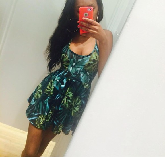 butterfly dark blue light green short dress summer dress spring dress floral