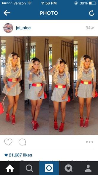 top skirt belt red belt gold jewelry skirt suit red bag redheels jai nice jainice shoes