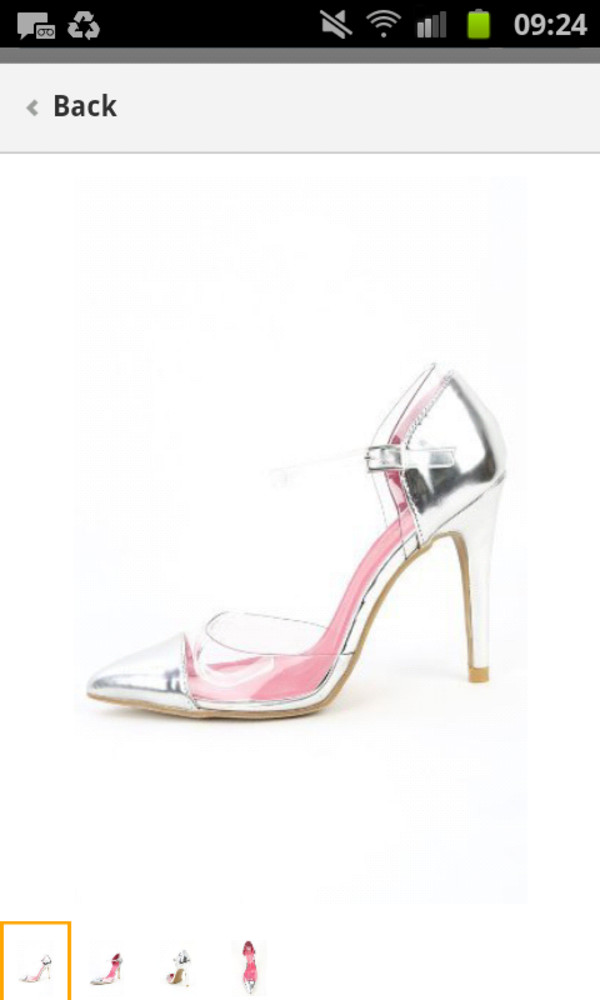 shoes silver shoes clear high heels cute