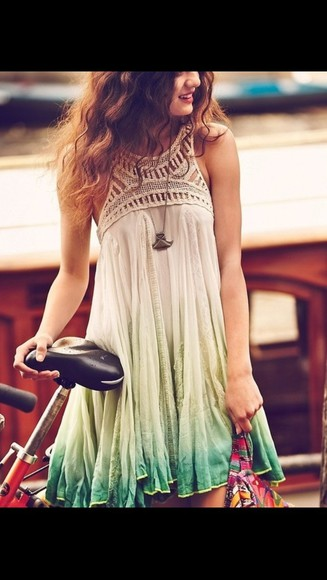 dress sundress green dress green ombré ombre prety