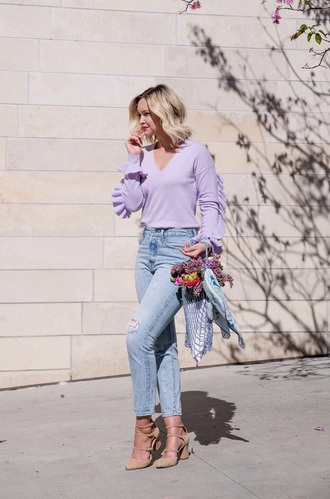 sweater spring sweater ruffle sweater lilac shoes pumps bag net bag v neck ruffle jeans denim blue jeans