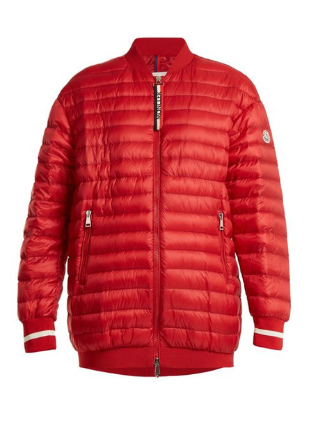 Moncler - Charoite Quilted Down Bomber Jacket - Womens - Red