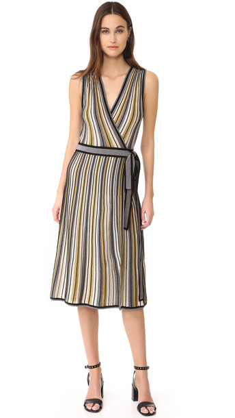 Diane Von Furstenberg dress wrap dress gold