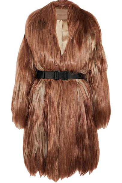 Bottega Veneta coat oversized hair brown