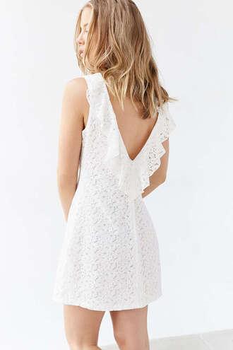 dress lace dress white lace dress ruffle summer dress white dress backless prom dress