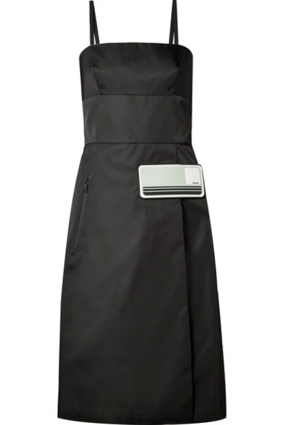 Prada - Rubber-appliquéd Gabardine Dress - Black