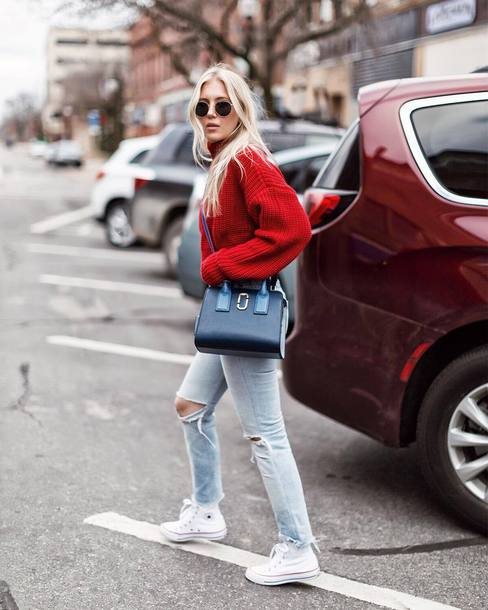 sweater tumblr red sweater knit knitwear knitted sweater bag denim jeans blue jeans sneakers white sneakers converse