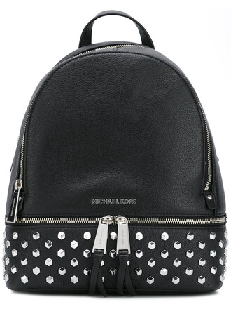 metal backpack leather black bag