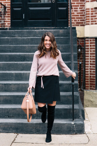 skirt wrapped skirt a-line skirt sweater mini skirt blogger blogger style knee high socks handbag