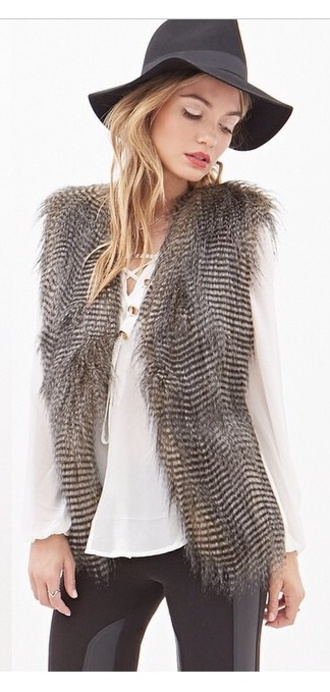 fur vest fashion fur animal print birds chic i need this!!!!! wheretogetit? feathers faux fur vest coat