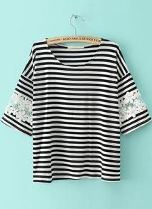 gestreiftes T-Shirt mit Häkelspitze, schwarz-weiß-Sheinside