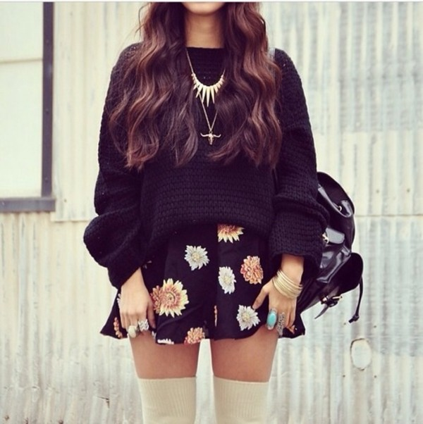 sweater skirt bag jewels