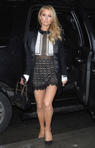 dress mini dress lace dress paris hilton blazer pumps black and white collared dress a line dress jacket party dress