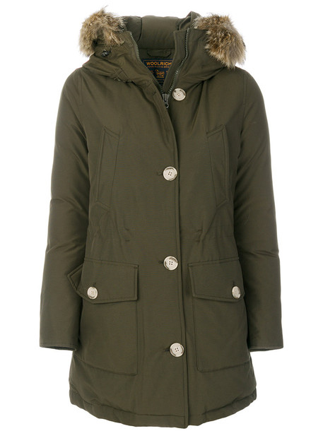 Woolrich coat parka women cotton green