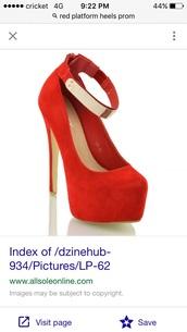 shoes,red,high heels,gold,dress,platform heels,sexy,suede