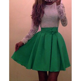 dress lace white green girly cute fashion style long sleeves party kawaii rose wholesale-jan jumpsuit