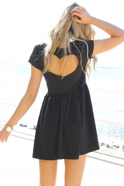 Black Little Black Dress - Black Heart Cutout Dress with | UsTrendy