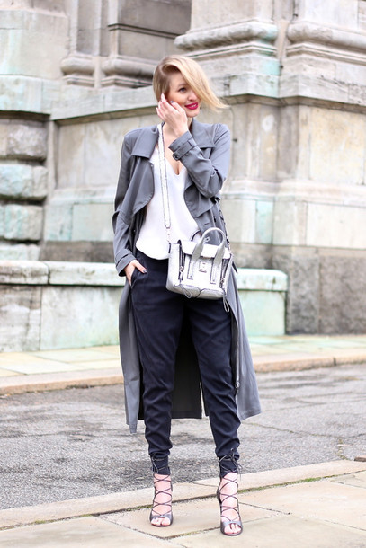 ohh couture blogger pants grey coat white top strappy sandals satchel bag