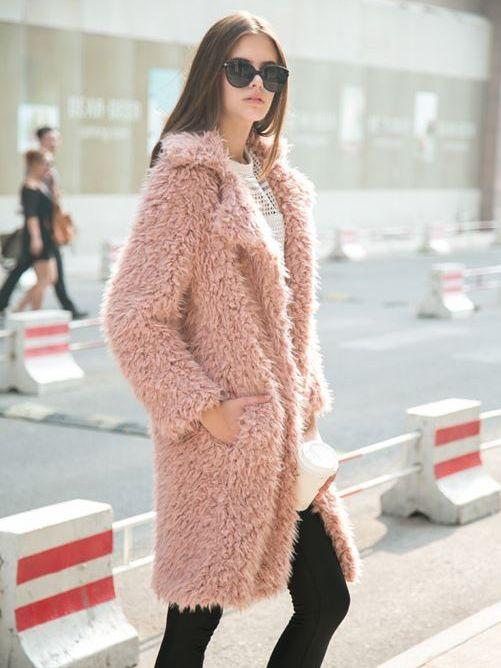 Pink coat faux fur