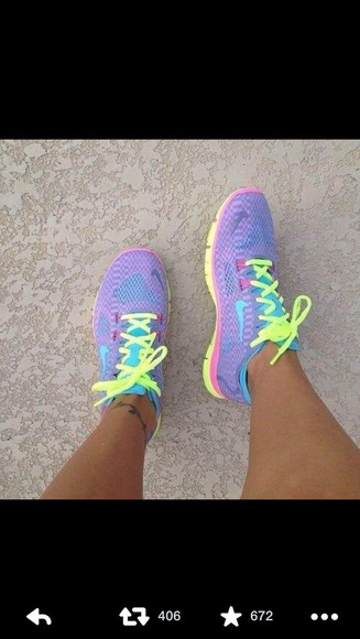 shoes neon yellow purple yellow