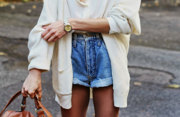 sweater white baggy jacket shorts cardigan pants