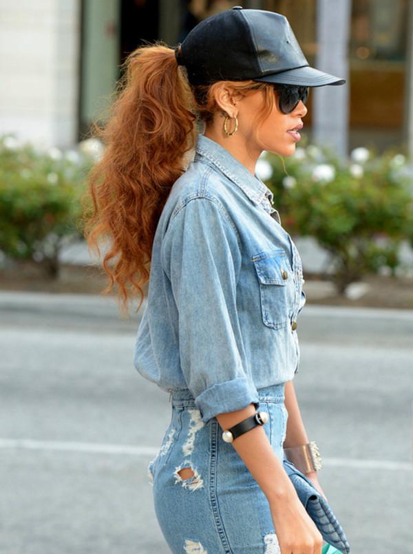 jeans denim denim shirt jeans rihanna hat blouse