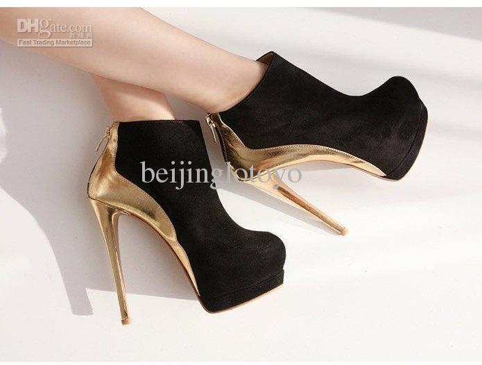 Buy black suede platform pump /white and gold color split joint high heels /sexy lady heels ltys0031b, $28.25