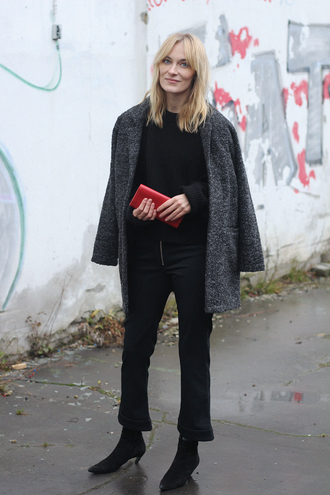 blameitonfashion blogger coat bag pants shoes sweater grey coat clutch red bag ankle boots black sweater black pants