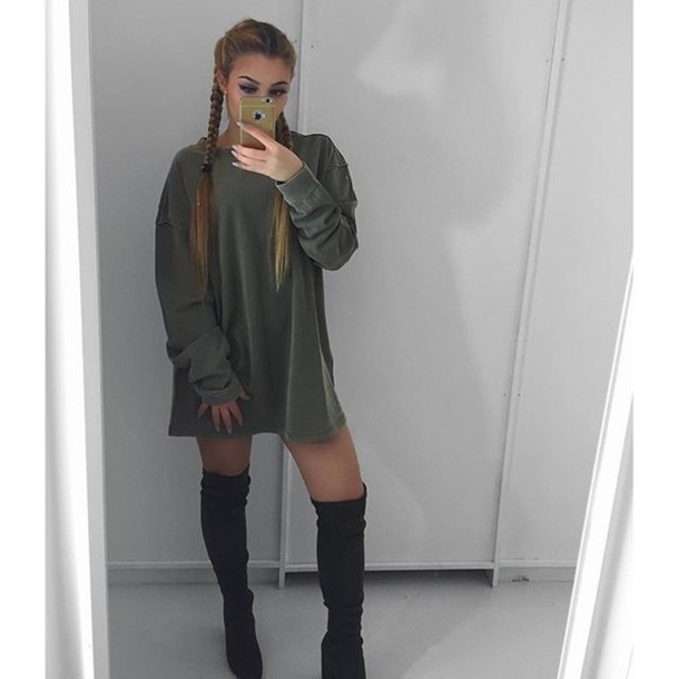 6f42c15cbcf shirt khaki fashion girl sweater dress sweatdress Khaki dress green boots  black long sleeves