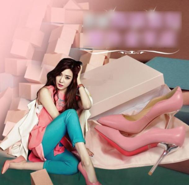 shoes heel pink white women girl fashion dress party