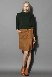 skirt,belted suede flap skirt in camel,chicwish,camel,camel suede skirt